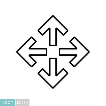 Four arrows pointing from the center vector icon. Navigation sign. Graph symbol for travel and tourism web site and apps design,   app, UI