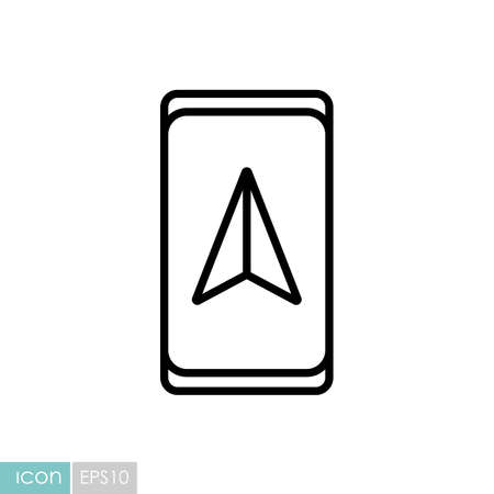 Smartphone with navigator vector icon. Navigation sign. Graph symbol for travel and tourism web site and apps design,  app, UI Illustration
