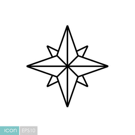 Wind rose vector icon. Navigation sign. Graph symbol for travel and tourism web site and apps design,  app, UI
