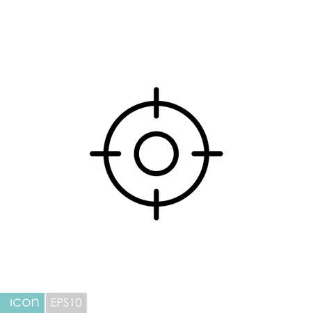 Crosshairs target destination vector icon. Navigation sign. Graph symbol for travel and tourism web site and apps design,  app, UI