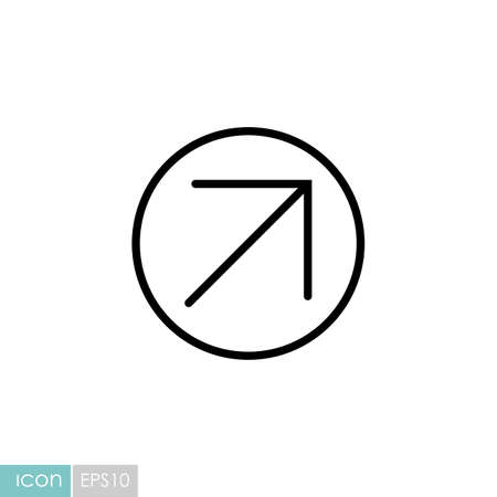 Arrow right top vector icon. Navigation sign. Graph symbol for travel and tourism web site and apps design,  app, UI