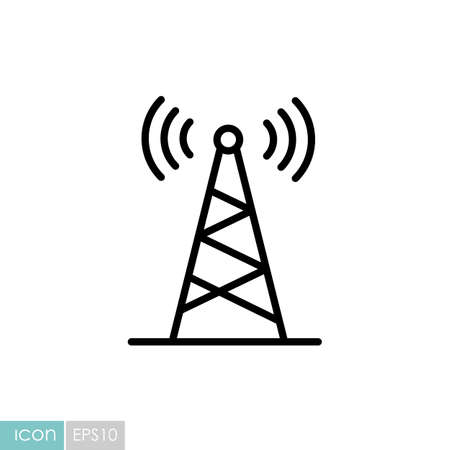 Communication antenna vector icon. Navigation sign. Graph symbol for travel and tourism web site and apps design,   app, UI