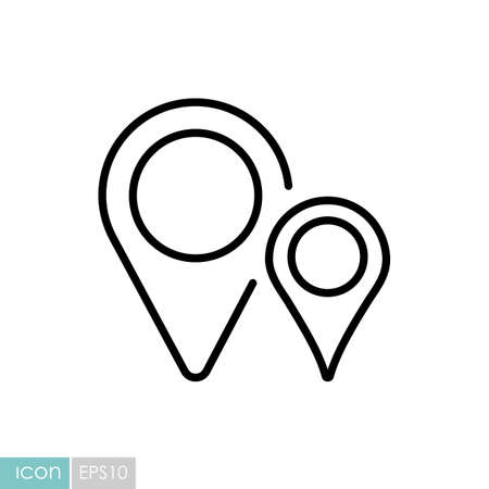 Two pin map icon. Map pointer. Map markers. GPS location symbol. Navigation sign. Graph symbol for travel and tourism web site and apps,  app, UI