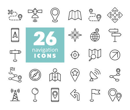 Maps, location, navigation vector icons set. Graph symbol for travel and tourism web site and apps design,   app, UI Illustration