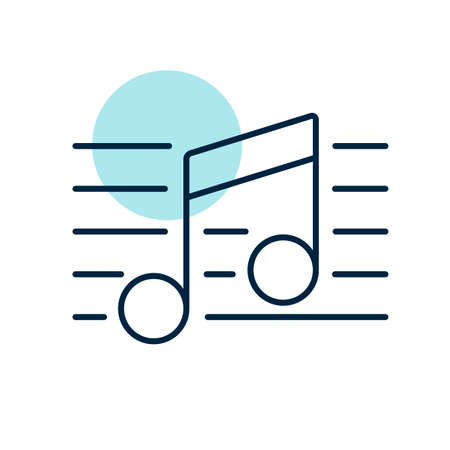 Stave and music notes vector icon. Melody, classical music, sound design. Graph symbol for music and sound web site and apps design, logo, app, UI