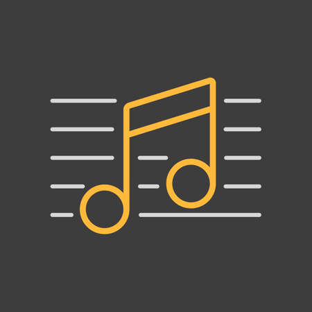 Stave and music notes vector icon on dark background. Melody, classical music, sound. Graph symbol for music and sound web site and apps, logo, UI