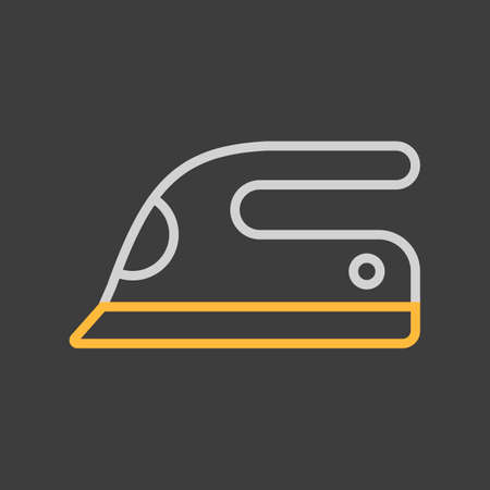 Steam iron flat vector icon on dark background. Graph symbol for household electric web site and apps design, logo, app, UI