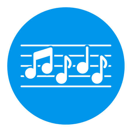 Stave and music notes vector white glyph icon. Melody, classical music, sound design. Graph symbol for music and sound web site and apps design, logo, app, UI Logo