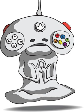 meditator: The meditator alien with his head in the form of a game joystick. Stock Photo