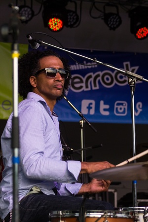 dominion: Drummer Alan Evans of the jazz trio Soulive performing at Dominion Riverrock 2013 in Richmond, VA.