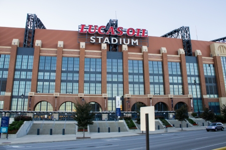 lucas: Side of Lucas Oil Stadium during the daytime
