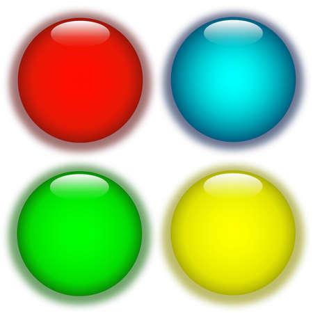 Coloured aqua buttons
