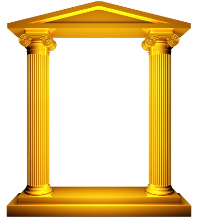 Ionische gouden frame Stockfoto