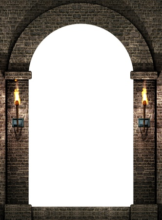 stone arches: Arch with torches Stock Photo