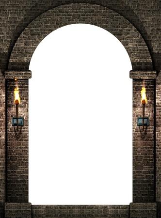 arcos de piedra: Arco con antorchas