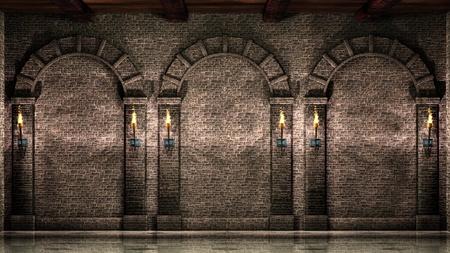 arcos de piedra: Muro de piedra con arcos Foto de archivo