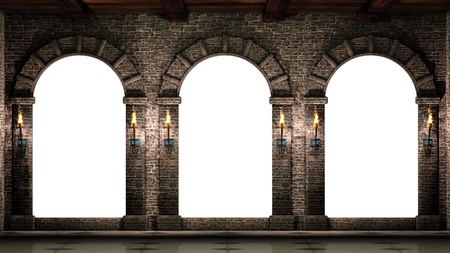 stone arches: Arches and shining torches Stock Photo