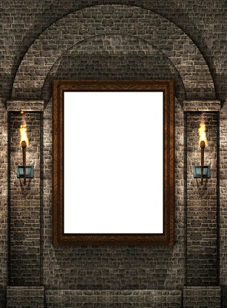Frame with torches