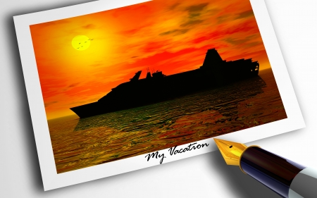 Photograph of cruise vacation at sunset with pen