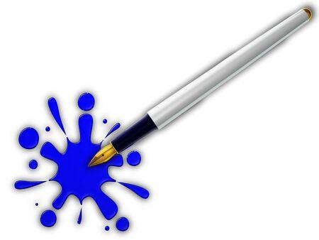 Pen and blue splash on white