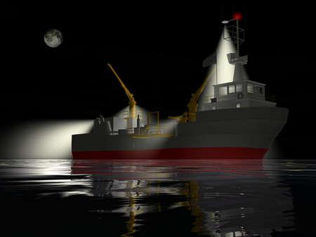Fishing ship at night