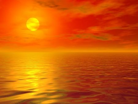 Hot sea sunset Stok Fotoğraf