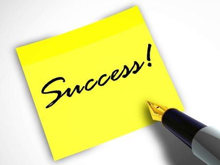 Pen and sticky note success Stok Fotoğraf - 21774045