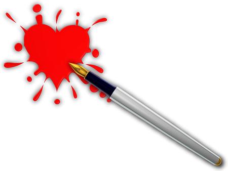 Pen and heart splash
