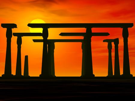 Ancient desert ruins at sunset   Stok Fotoğraf