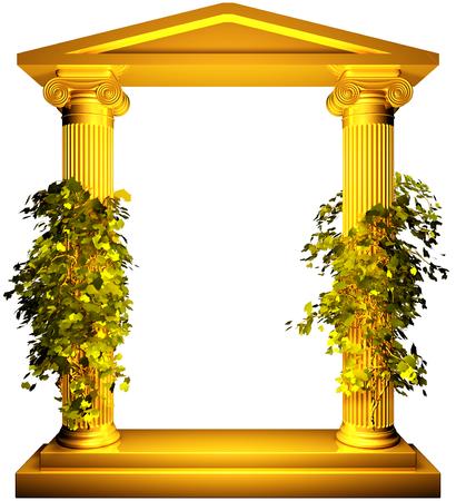 Ionische gouden frame met wijn
