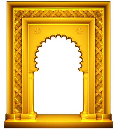 light columns: Oriental style gold frame