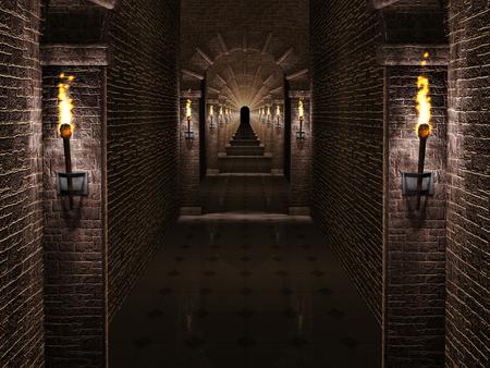 castillos: Corredor Castillo medieval Foto de archivo