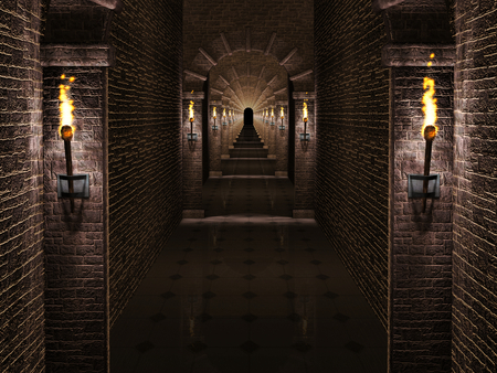 columns: Medieval castle corridor Stock Photo