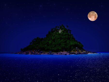 Tropisch eiland 's nachts