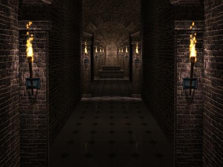 kasteel corridor Stockfoto