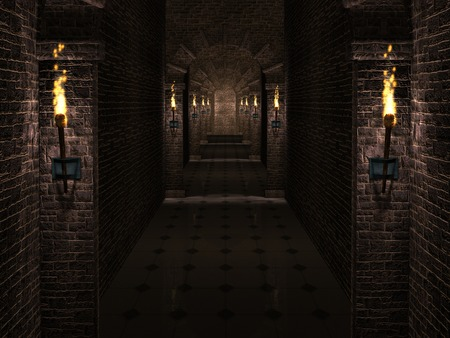 arcos de piedra: pasillo del castillo