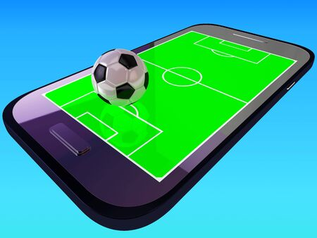 smart goals: Mobile soccer game Stock Photo