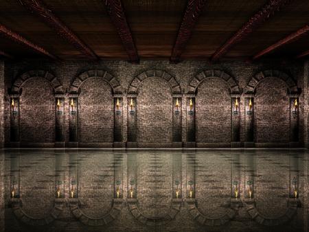 Medieval castle hall 스톡 콘텐츠