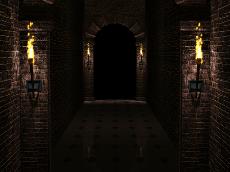 corridor: Dark castle corridor 3d illustration Stock Photo