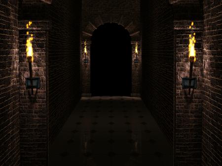 Dark castle corridor 3d illustration Stok Fotoğraf