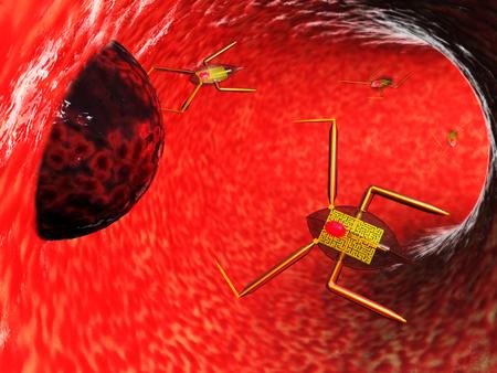 Medical nanobots 3d illustration