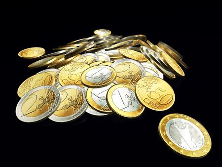 euro coin: Stack of Euro coins