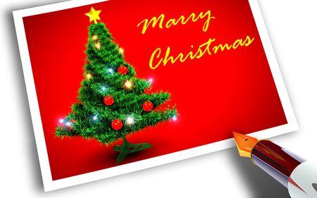 Merry Christmas briefkaart Stockfoto