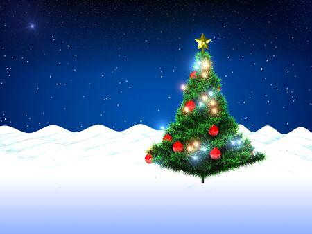 Kerstboom en sneeuw Stockfoto