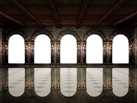 Medieval hall and arches Stok Fotoğraf - 75736054