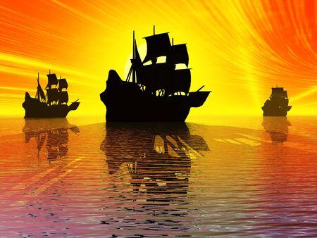 Ancient sail ships