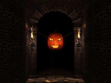 Dark arch and pumpkin