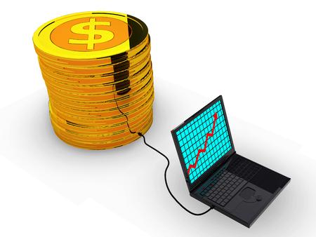 Succes bedrijfsgrafiek op laptop Stockfoto
