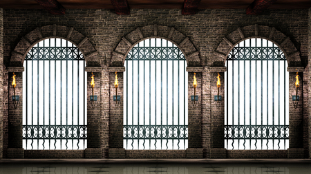 Arches with railings isolated