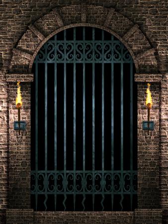 Arch with iron gate Stok Fotoğraf - 101873505